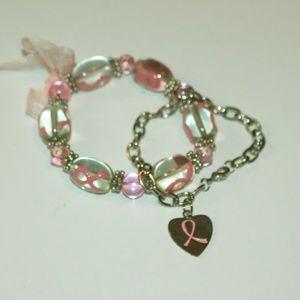 pair of breast cancer awareness bracelets